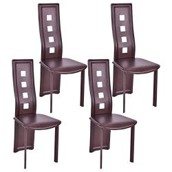 Giantex Set of 4 Dining Chairs, Heavy Duty Iron Frame, Ergonomic Curved Backrest, High Back Elas ...