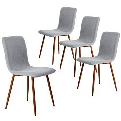 Set of 4 Kitchen Dining Chairs Fabric Cushion Side Chairs with Sturdy Metal Legs for Home Kitche ...