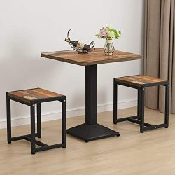 Tribesigns 3-Piece Small Dining Table Set, Bistro Table Set with Stools for Kitchen, Breakfast N ...