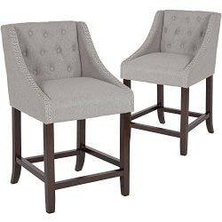 Taylor + Logan 2 Pk. 24″ High Transitional Tufted Walnut Counter Height Stool with Accent  ...