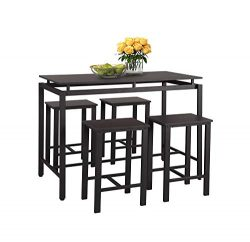 LOKESI 5Pcs Dining Set Modern Style Wooden Kitchen Table and Chairs with Metal Legs (Espresso)