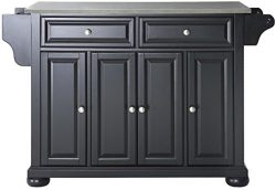 Crosley Furniture Alexandria Kitchen Island with Stainless Steel Top – Black