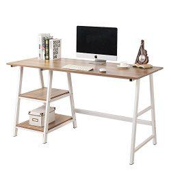 Soges 55 in Trestle Desk Computer Desk Writing Desk Home Office Desk Hutch Workstation with Shel ...