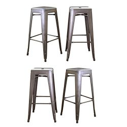 WINMART 30 Inch Stainless Steel Bar Stools, Loft Metal Bar Stool, Counter Height Bar Stools Gun  ...