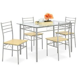 Best Choice Products 5-Piece Glass Top Dining Table Set for Kitchen, Dining Room w/ 4 Chairs, St ...