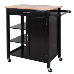 BBBUY Kitchen Island Cart Trolley Handle Wheel w/Wooden Top Drawer,Shelves,Cabinet for Storage