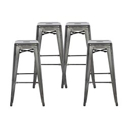 Buschman Set of Four Dark Gun Metal Dark Grey 30 Inches Bar Height Metal Bar Stools, Indoor/Outd ...
