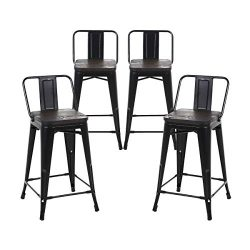 Buschman Set of 4 Matte Black Wooden Seat 24 Inch Counter Height Metal Bar Stools with Medium Ba ...