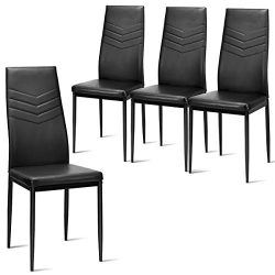 Giantex Set of 4 Dining Chairs Black with High Back, Upholstered Cushion, Sturdy Metal Frame, Po ...