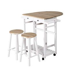 Multi-Purpose Wood Rolling Wood Kitchen Island Trolley Cart Wood Top Storage Cabinet Utility (Wh ...