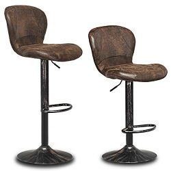 COSTWAY Vintage Bar Stool, Set of 2 Armless Air Lift Adjustable Seat Height with Footrest, PU Le ...