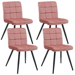 Set of 4 Dining Chairs,Velvet Accent Chair Upholstered Living Room Modern Leisure Chairs Style M ...