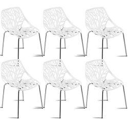 Giantex Set of 6 Modern Dining Chairs Birds Nest Set Modern Stackable Plastic Hollow-Out Geometr ...