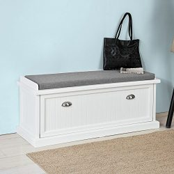 Haotian FSR41-W,White Storage Bench with Drawers & Padded Seat Cushion, Hallway Bench Shoe C ...