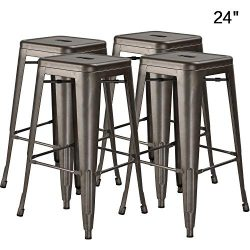 Bossin 24″ Modern Metal Stool Backless Industrial Counter Height Bar Stools,Indoor-Outdoor ...