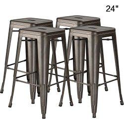 Bossin 24″ Modern Metal Stool Backless Industrial Counter Height Bar Stools,Indoor-Outdoor ...