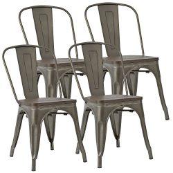 JUMMICO Metal Dining Chair Stackable Industrial Vintage Kitchen Chairs Indoor-Outdoor Bistro Caf ...