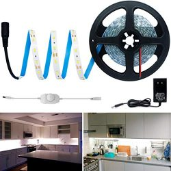 HitLights Cool White LED Light Strip Kit, 16.4 Feet – Includes Power Supply and Dimmer. 30 ...