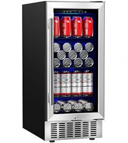 Aobosi 15″ Beverage Cooler, Freestanding and Built-in Beverage Refrigerator with Advanced  ...