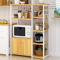 Hicy Home Kitchen Island,5-Tier Microwave Stand Storage,Baker's Rack Utility (Natural)