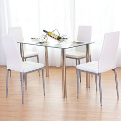 Tangkula Dining Table Set 5 PCS Modern Tempered Glass Top PVC Leather Chair Dining Table and Cha ...
