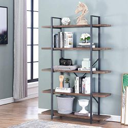 O&K FURNITURE 5-Tier Industrial Style Bookshelf, Wood and Metal Bookcases Furniture, 70̸ ...