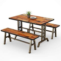 Tribesigns Dining Table with Two Benches, 3 Pieces Dining Set Kitchen Table Set with Metal Base  ...