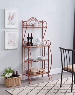 Kings Brand Furniture – Sparta Metal Kitchen Storage Bakers Rack, Orange