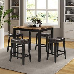 LOKESI Kitchen Table Set, 5 Pieces Faux Marble Top Counter Height Dining Table Set with 4 Stools ...