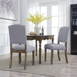 Belleze Set of (2) Gray Parson Chair Dining Cushion Seat Nailhead Home Kitchen Accent High Backr ...