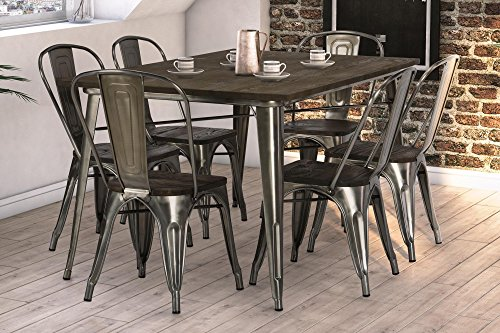 DHP Fusion Dining Set, Includes Fusion Rectangular Dining Table and 6  Fusion Dining Chairs, Dis ...