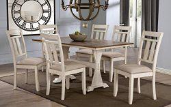 Baxton Studio Wholesale Interiors 7 Piece Roseberry Shabby Dining Set with Trestle Base 60″ ...