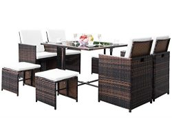 Knocbel Rattan Patio Furniture Set 9 Pcs Dining Chairs Stools Table with Seat Cushions Backrest  ...