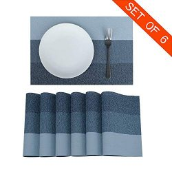 Familamb Placemats for Dining Table Set of 6 Woven Vinyl Washable Table Placemats Table Decorati ...
