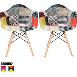2xhome Set of 2 Multi-Color Modern Upholstered Molded Armchair Fabric Chair Patchwork Pattern Li ...