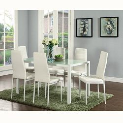 IDS Online IDS-17429-6-W Deluxe Glass Dining Table Set 7 Pieces Modern Design with Faux Leather  ...
