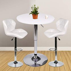 Bar Table Set of 3 – Adjustable Round Table and 2 Swivel Pub Stools for Home Kitchen Bistr ...