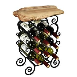 WELLAND Magen 10 Bottle Wine Rack with Natural Edge Table Top, Metal & Wood Free Standing Fl ...