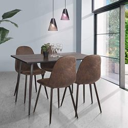 HOMY CASA Farmhouse Rectangle Dining Table, Mid-Century Wooden Top Kitchen Dining Table with Met ...