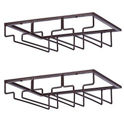 DEFWAY Wine Glass Rack – Under Cabinet Stemware Wine Glass Holder Glasses Storage Hanger 2 ...