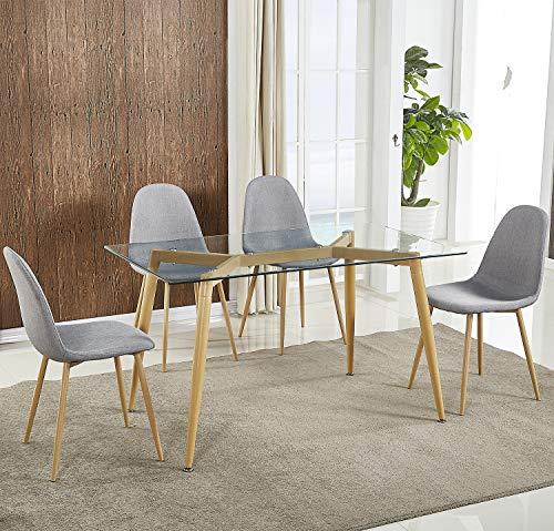 Harper&Bright Designs Dining Table With Tempered Glass Top