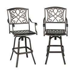 Yaheetech Set of 2 Outdoor Cast Aluminum Patio Chair 360 Degree Swivel Bar Stool Patio Furniture ...