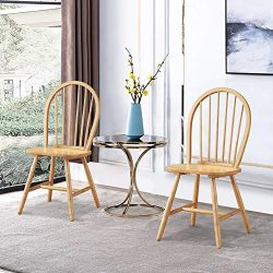 WATERJOY Wood Chairs, Set of 2 Vintage Winds Side Dining Chair, Winsome Wood Windsor Seating Chair