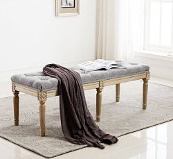 Fabric Upholstered Entryway Ottoman Bench – Classic Bedroom Bench with Rustic Wood Legs &# ...