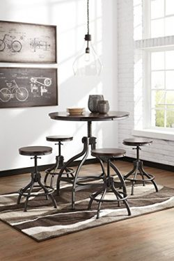 Ashley Furniture Signature Design – Odium Counter Height Dining Room Table and Bar Stools  ...