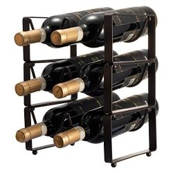 GONGSHI 3 Tier Stackable Wine Rack, Countertop Cabinet Wine Holder Storage Stand – Hold 6  ...