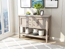 Console Table Sideboard Buffet Storage Cabinet with Four Storage Drawers Two Cabinets and Bottom ...