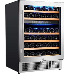 """【Upgraded】Aobosi 24"""" Dual Zone Wine Cooler 46 Bottle Freestanding and Built in Wine Refr ..."""