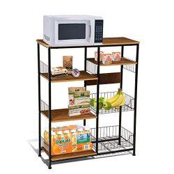 Magshion Baker's Rack Kitchen Island Dining Cabinet Basket Storage Shelves Organizer Wood  ...