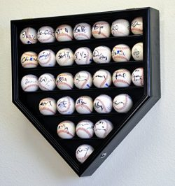 30 Baseball Display Case Cabinet Holder Rack Home Plate Shaped w/ UV Protection- Lockable -Black